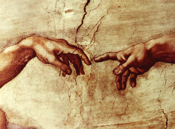 Michelangelo's Hand of God Giving Life to Adam